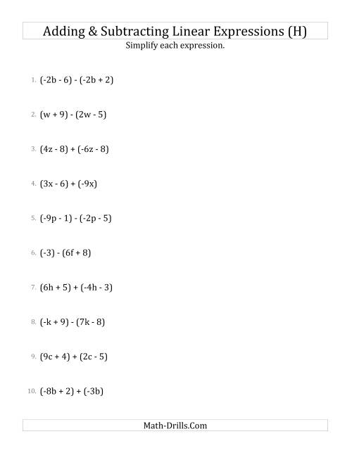 The Adding and Subtracting and Simplifying Linear Expressions (H) Math Worksheet