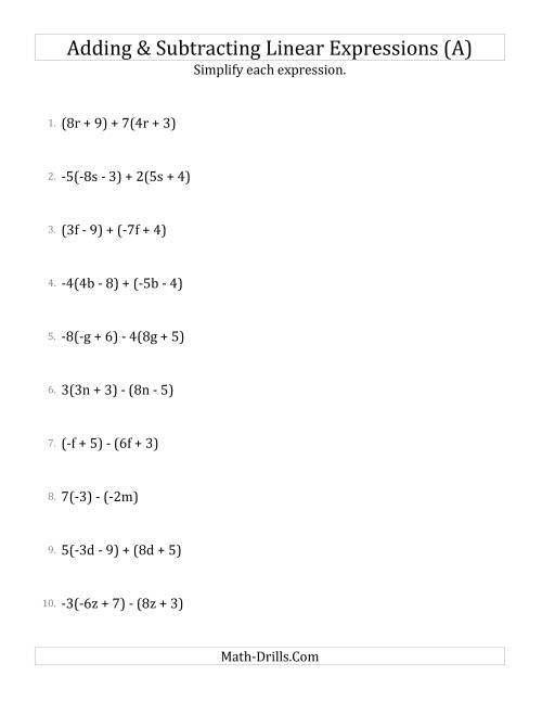 The Adding and Subtracting and Simplifying Linear Expressions with Some Multipliers (A) Math Worksheet