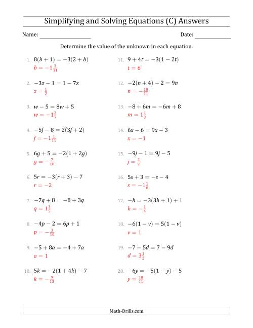 The Combining Like Terms and Solving Simple Linear Equations (C) Math Worksheet Page 2
