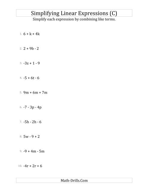 The Simplifying Linear Expressions with 3 Terms (C) Math Worksheet