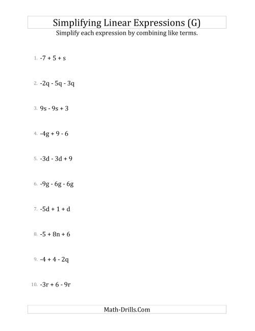 The Simplifying Linear Expressions with 3 Terms (G) Math Worksheet