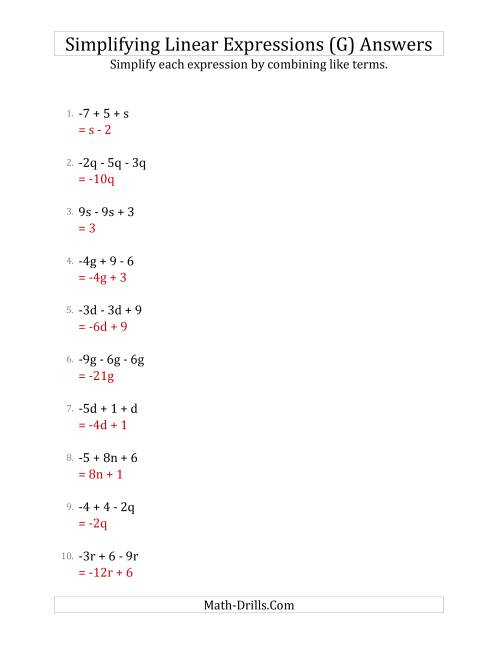 The Simplifying Linear Expressions with 3 Terms (G) Math Worksheet Page 2
