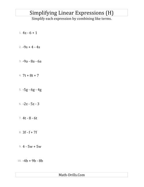 The Simplifying Linear Expressions with 3 Terms (H) Math Worksheet