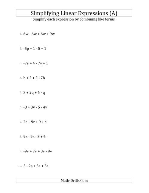 The Simplifying Linear Expressions with 4 Terms (A) Algebra Worksheet