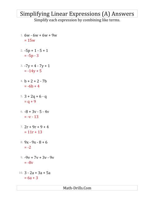 The Simplifying Linear Expressions with 4 Terms (A) Math Worksheet Page 2