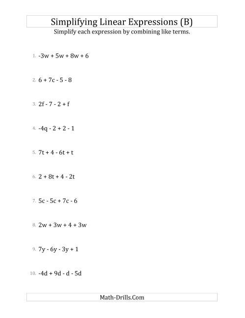 The Simplifying Linear Expressions with 4 Terms (B) Math Worksheet