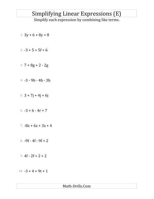The Simplifying Linear Expressions with 4 Terms (E) Math Worksheet