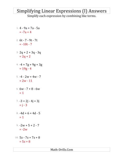 The Simplifying Linear Expressions with 4 Terms (I) Math Worksheet Page 2