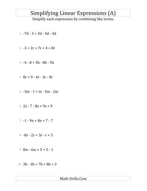 The Simplifying Linear Expressions with 5 Terms (A) Algebra Worksheet