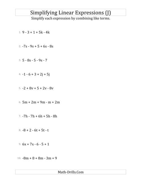 The Simplifying Linear Expressions with 5 Terms (J) Math Worksheet