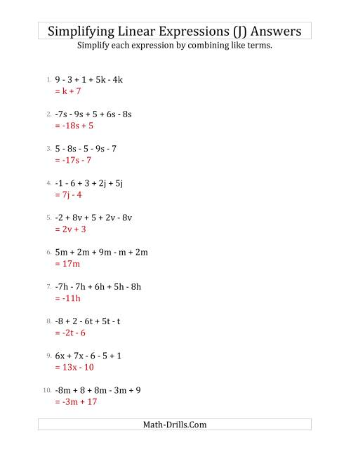 The Simplifying Linear Expressions with 5 Terms (J) Math Worksheet Page 2