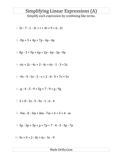 The Simplifying Linear Expressions with 6 to 10 Terms (A) Math Worksheet