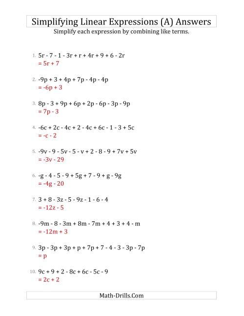 The Simplifying Linear Expressions with 6 to 10 Terms (A) Math Worksheet Page 2