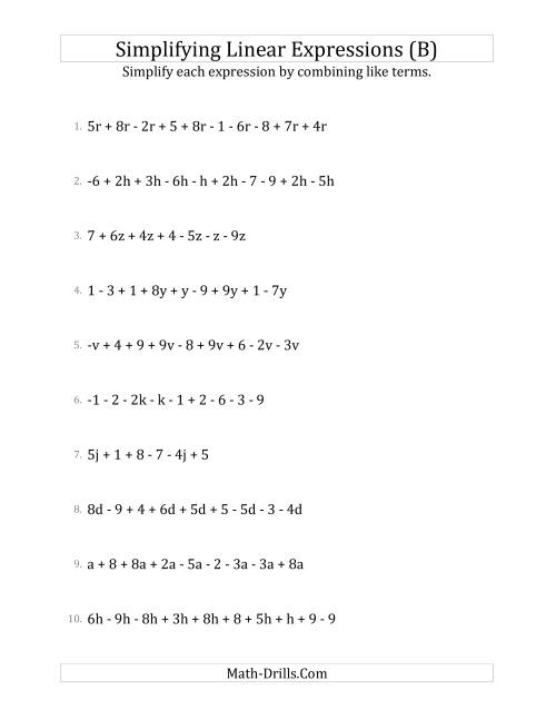 The Simplifying Linear Expressions with 6 to 10 Terms (B) Math Worksheet