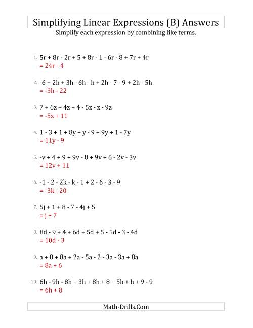 The Simplifying Linear Expressions with 6 to 10 Terms (B) Math Worksheet Page 2
