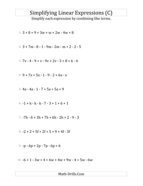 The Simplifying Linear Expressions with 6 to 10 Terms (C) Math Worksheet