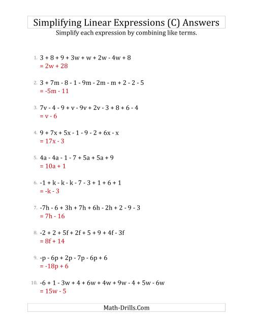 The Simplifying Linear Expressions with 6 to 10 Terms (C) Math Worksheet Page 2