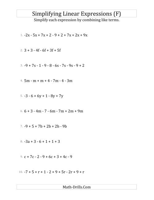 The Simplifying Linear Expressions with 6 to 10 Terms (F) Math Worksheet