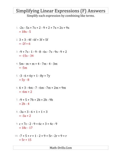 The Simplifying Linear Expressions with 6 to 10 Terms (F) Math Worksheet Page 2
