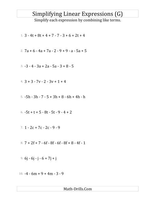 The Simplifying Linear Expressions with 6 to 10 Terms (G) Math Worksheet
