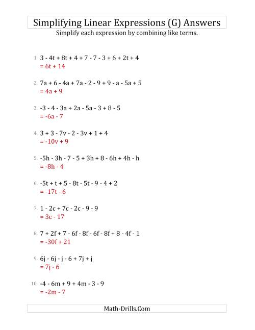 The Simplifying Linear Expressions with 6 to 10 Terms (G) Math Worksheet Page 2