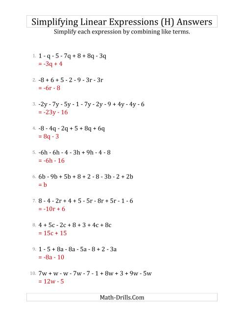 The Simplifying Linear Expressions with 6 to 10 Terms (H) Math Worksheet Page 2