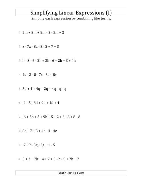 The Simplifying Linear Expressions with 6 to 10 Terms (I) Math Worksheet