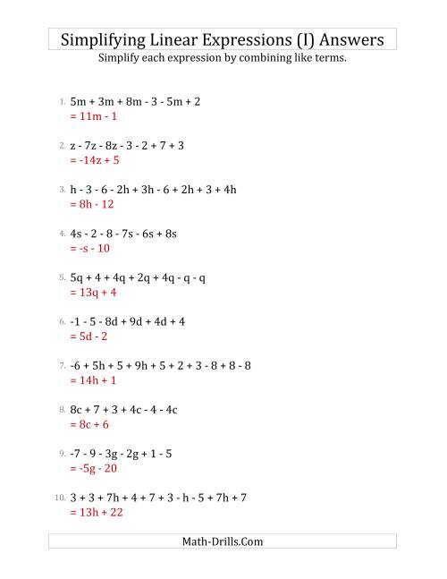 The Simplifying Linear Expressions with 6 to 10 Terms (I) Math Worksheet Page 2