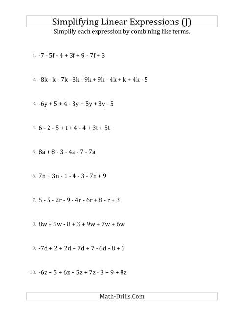 The Simplifying Linear Expressions with 6 to 10 Terms (J) Math Worksheet