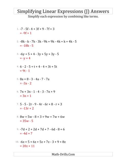 The Simplifying Linear Expressions with 6 to 10 Terms (J) Math Worksheet Page 2