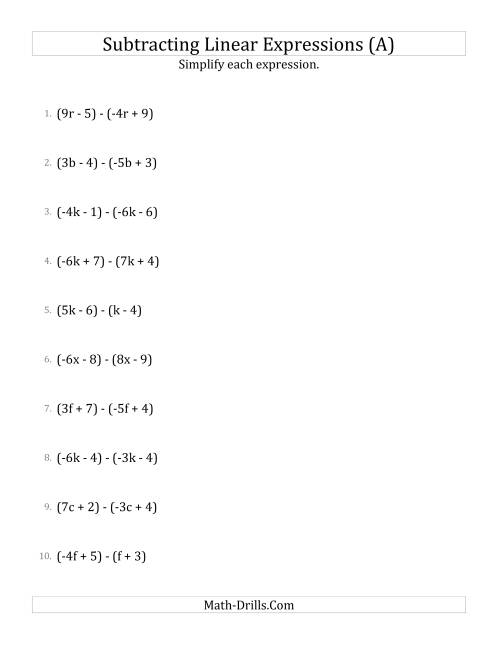The Subtracting and Simplifying Linear Expressions (A) Math Worksheet