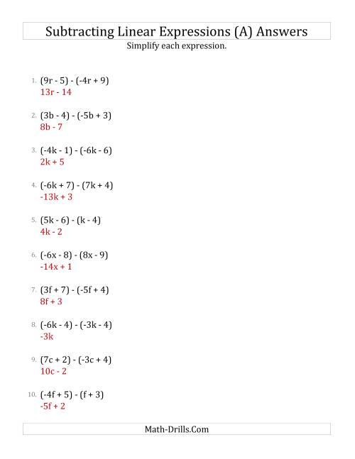 The Subtracting and Simplifying Linear Expressions (A) Math Worksheet Page 2