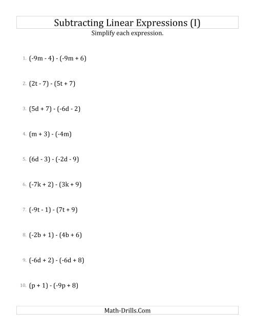 The Subtracting and Simplifying Linear Expressions (I) Math Worksheet
