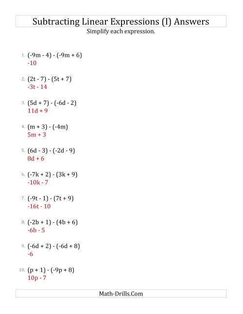 The Subtracting and Simplifying Linear Expressions (I) Math Worksheet Page 2