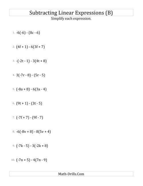The Subtracting and Simplifying Linear Expressions with Some Multipliers (B) Math Worksheet