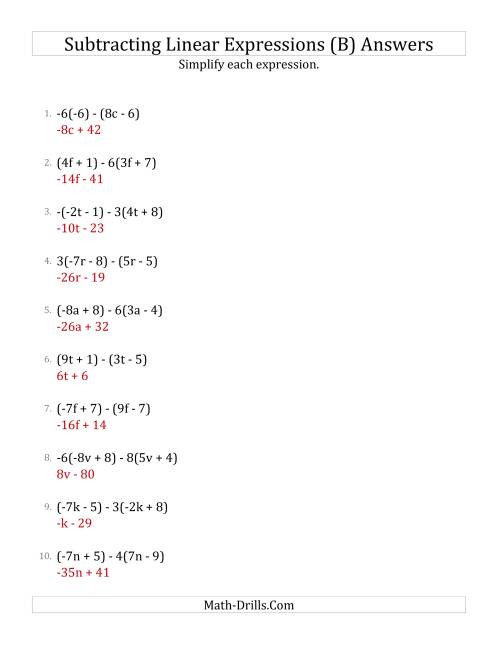 The Subtracting and Simplifying Linear Expressions with Some Multipliers (B) Math Worksheet Page 2