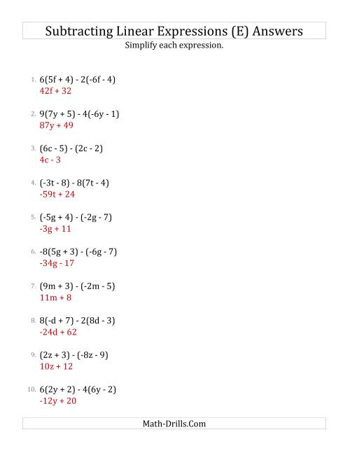 The Subtracting and Simplifying Linear Expressions with Some Multipliers (E) Math Worksheet Page 2