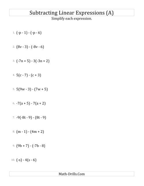 The Subtracting and Simplifying Linear Expressions with Some Multipliers (All) Math Worksheet