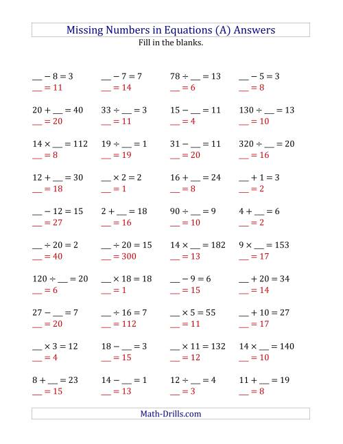 The Missing Numbers in Equations (Blanks) -- All Operations (Range 1 to 20) (A) Math Worksheet Page 2