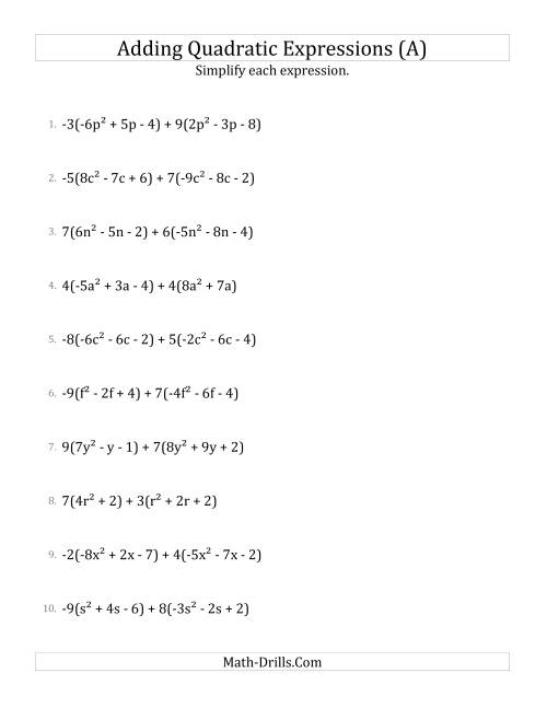 The Adding and Simplifying Quadratic Expressions with Multipliers (A) Algebra Worksheet