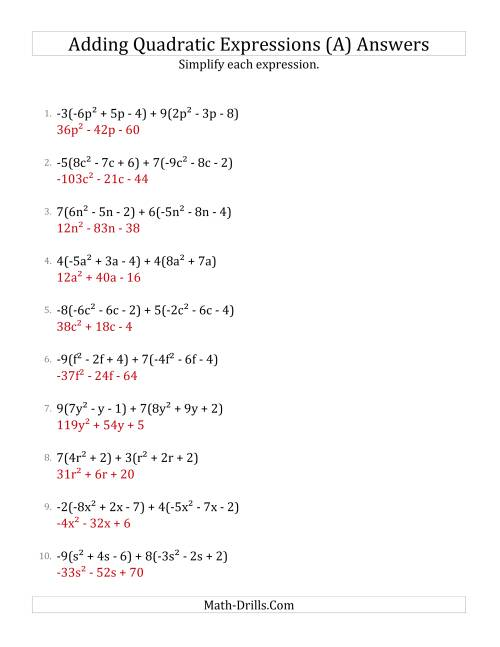 The Adding and Simplifying Quadratic Expressions with Multipliers (A) Math Worksheet Page 2