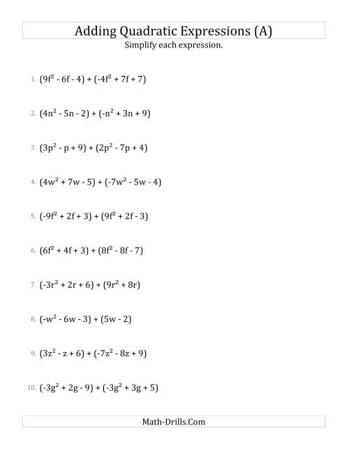 The Adding and Simplifying Quadratic Expressions (A) Math Worksheet