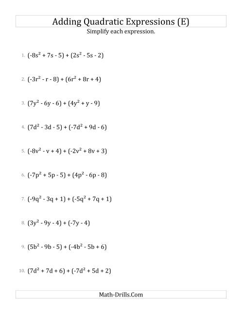 The Adding and Simplifying Quadratic Expressions (E) Math Worksheet