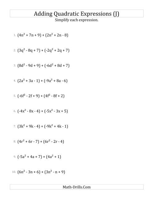 The Adding and Simplifying Quadratic Expressions (J) Math Worksheet