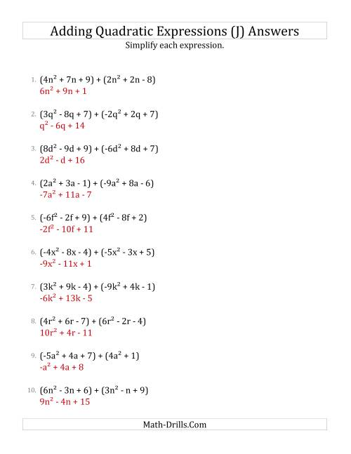 The Adding and Simplifying Quadratic Expressions (J) Math Worksheet Page 2