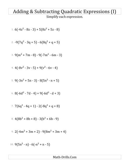 The Adding and Subtracting and Simplifying Quadratic Expressions with Multipliers (I) Math Worksheet