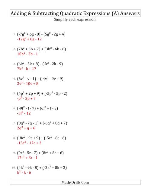The Adding and Subtracting and Simplifying Quadratic Expressions (A) Math Worksheet Page 2