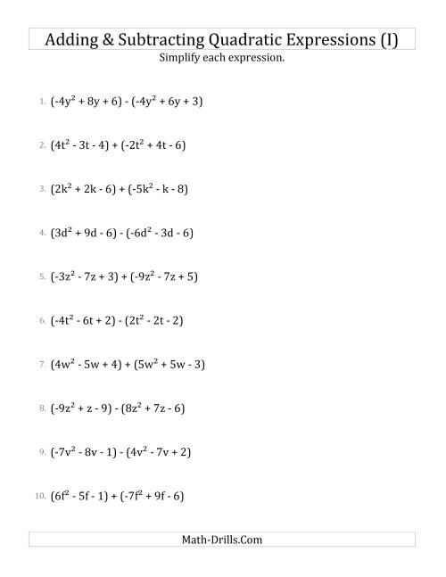 The Adding and Subtracting and Simplifying Quadratic Expressions (I) Math Worksheet