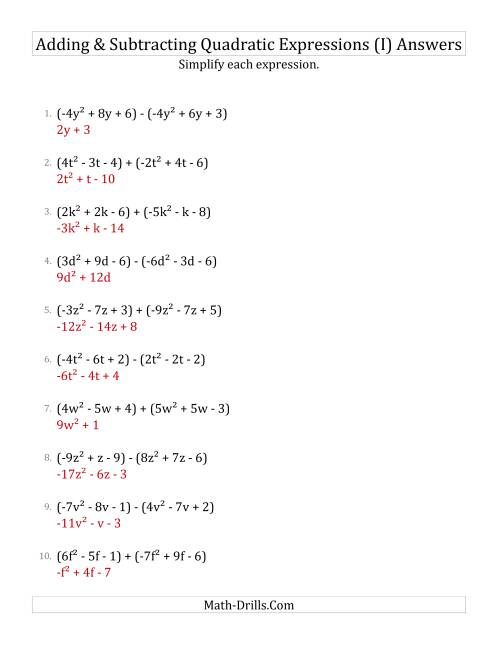 The Adding and Subtracting and Simplifying Quadratic Expressions (I) Math Worksheet Page 2