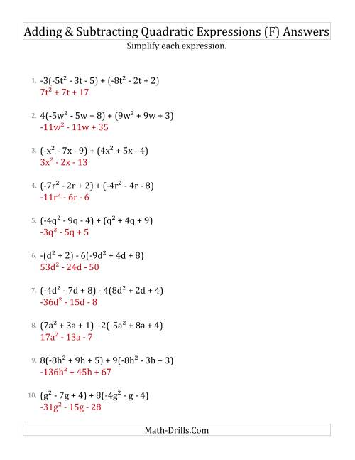 The Adding and Subtracting and Simplifying Quadratic Expressions with Some Multipliers (F) Math Worksheet Page 2